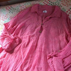 Sigrid Olson 100% Pink Linen Shirt XL